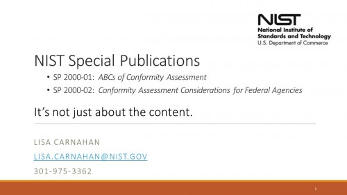 NIST Presentation by Lisa Carnahan